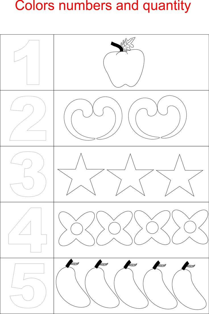 Numbers And Quantity Coloring Page For Kids