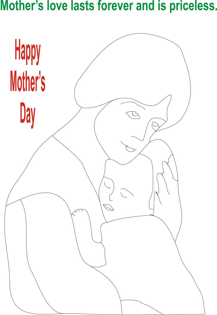 Mothers day coloring printable page for kids 7