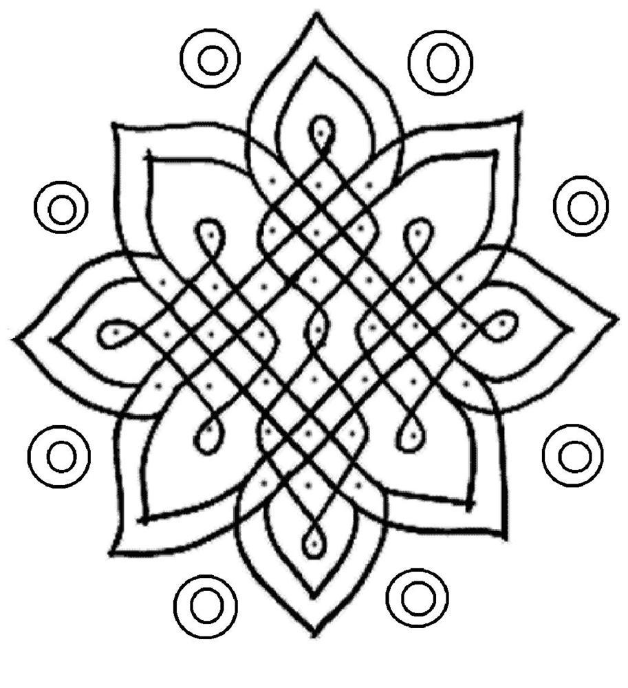 Rangoli design coloring printable
