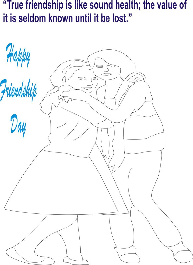 Friendship day coloring page for kids 1