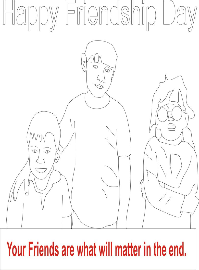Friendship day coloring page for kids 2