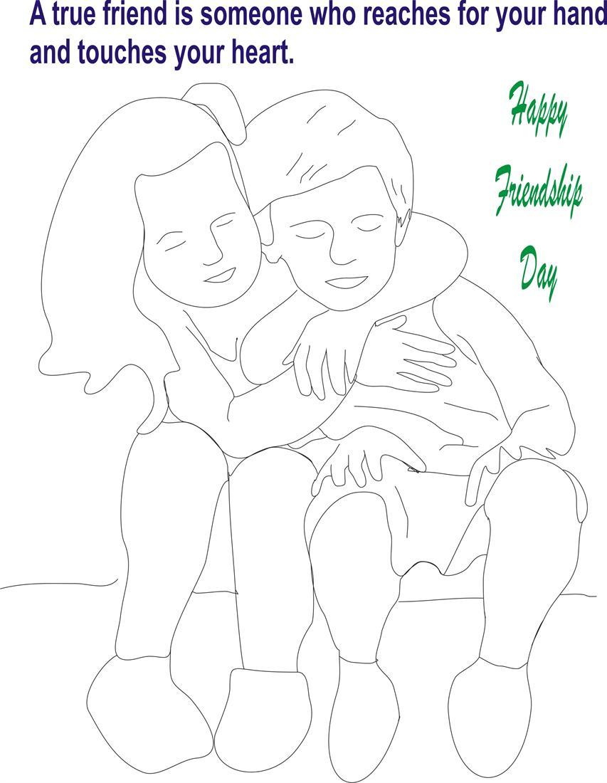 Friendship day coloring page for kids 4