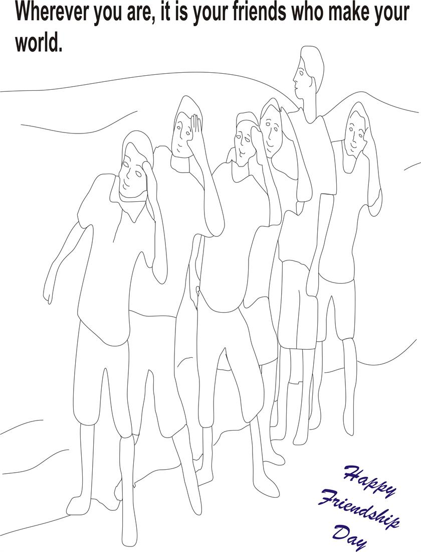 Friendship day coloring page for kids 5