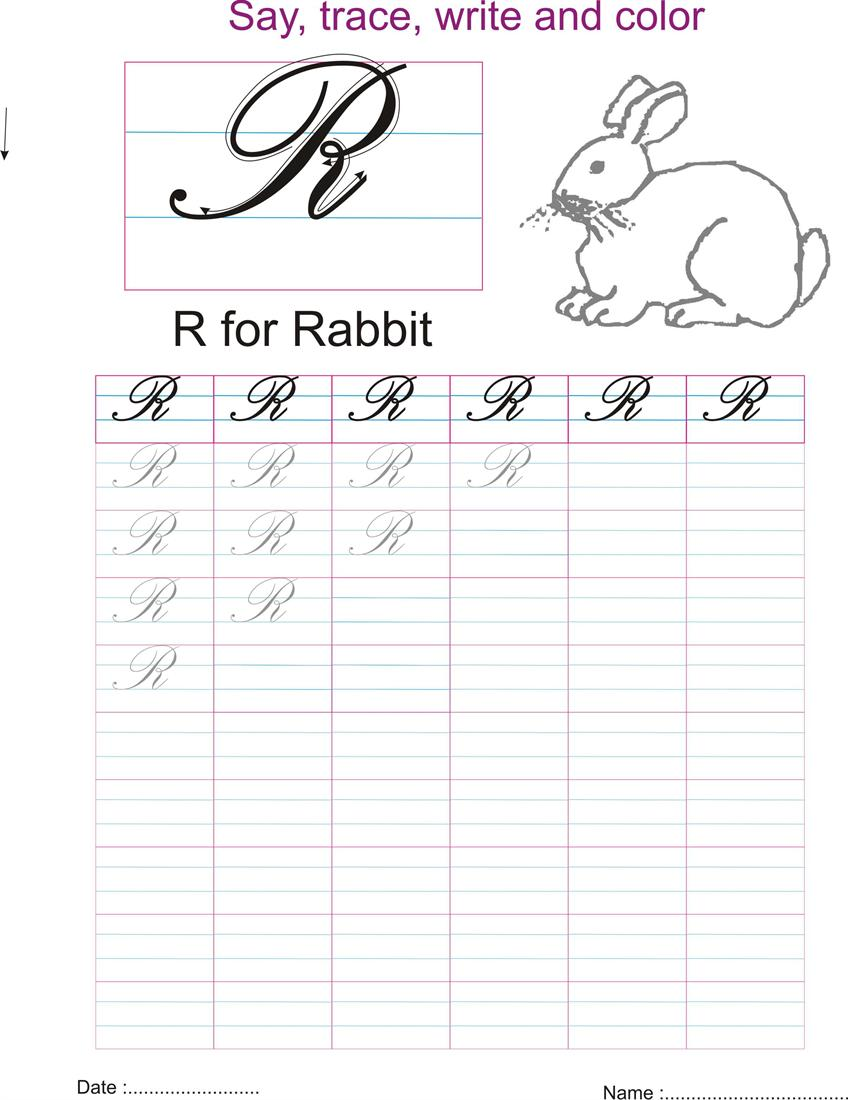 Cursive captial letter 'R' worksheet