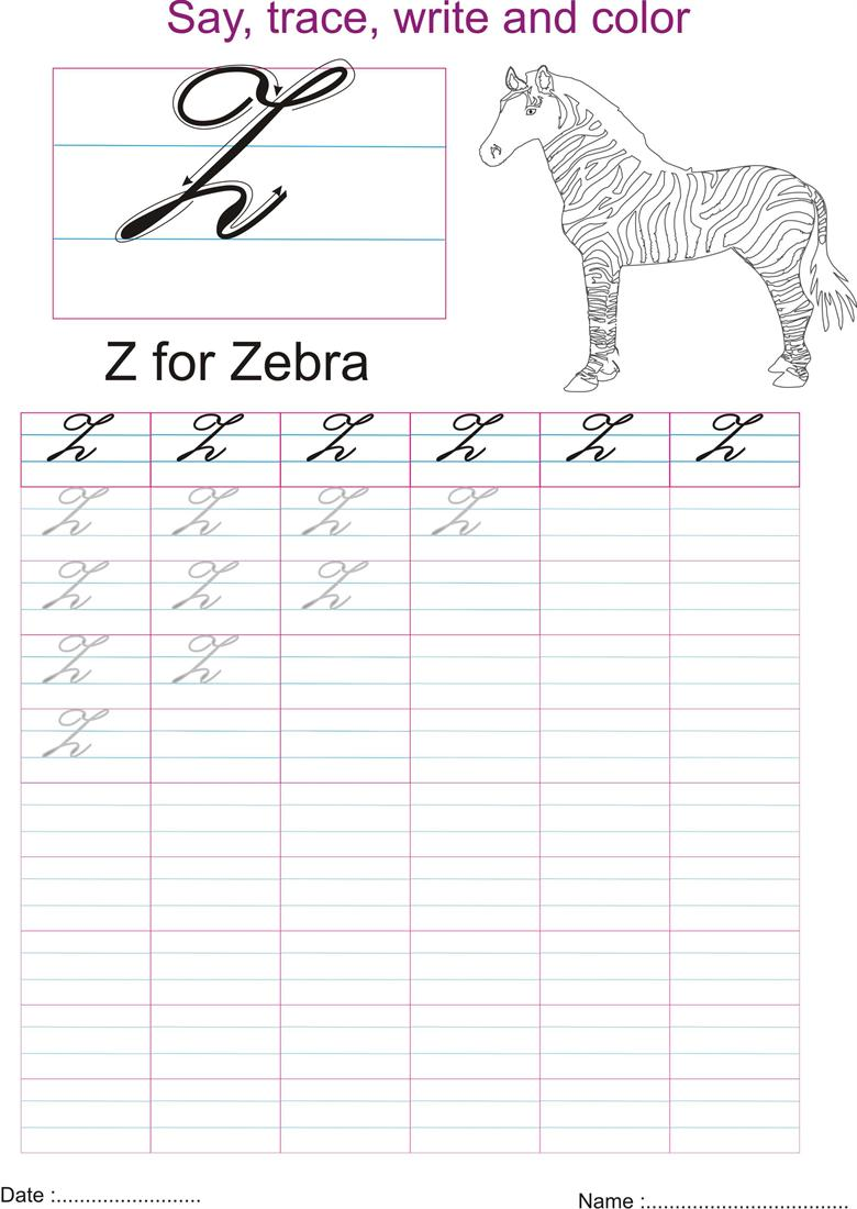 Cursive captial letter 'Z' worksheet