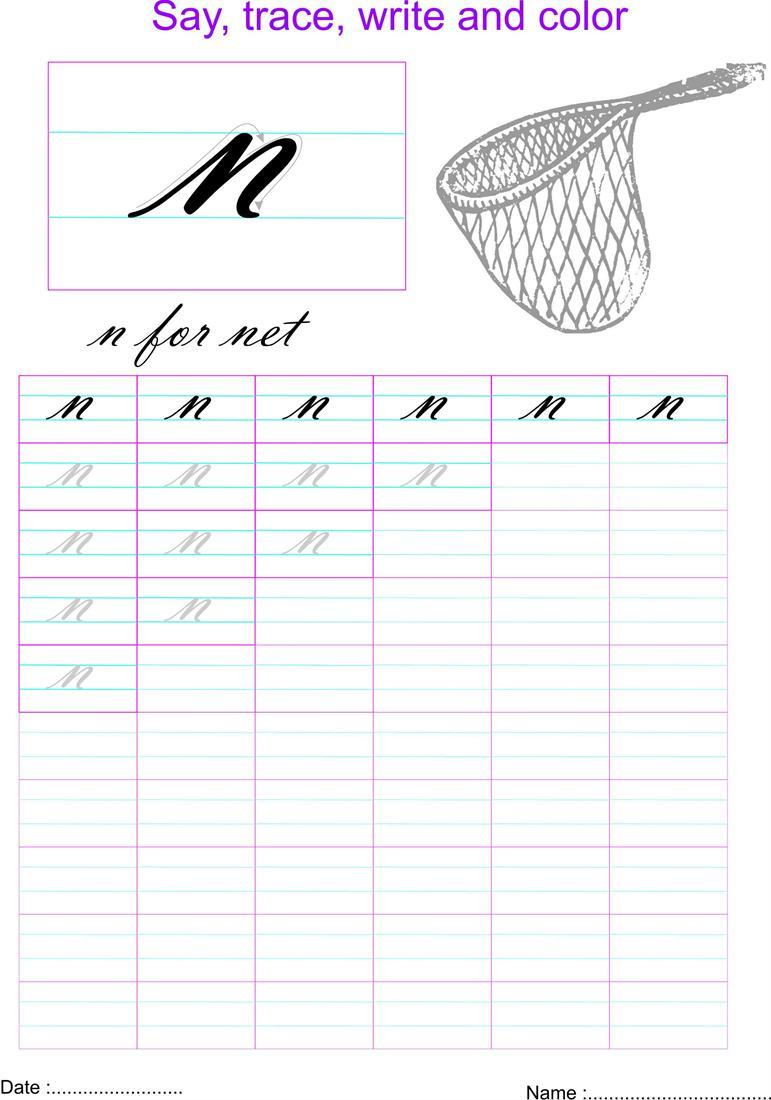 Cursive Small Letter N Worksheet