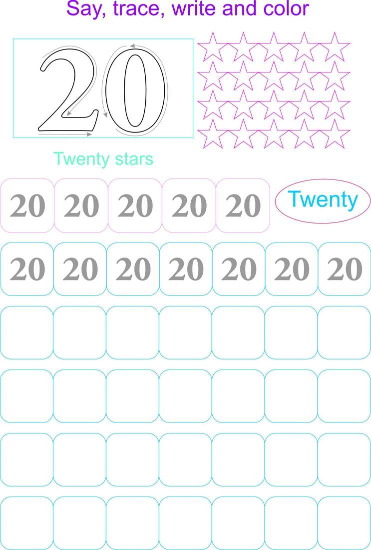 Number writing worksheet - 20