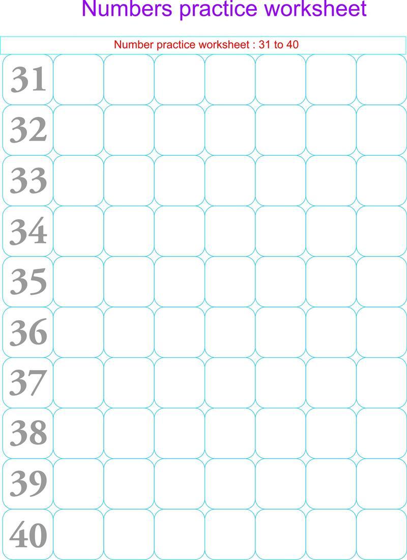 Numbers practice worksheets - 31 - 40
