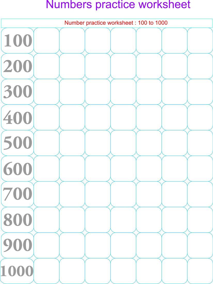 numbers practice worksheets only hundreds 100 1000. Black Bedroom Furniture Sets. Home Design Ideas