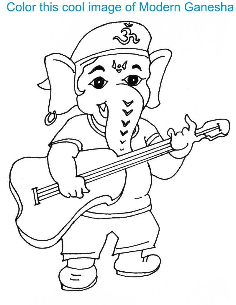 Ganesh Chaturthi coloring page for kids 2