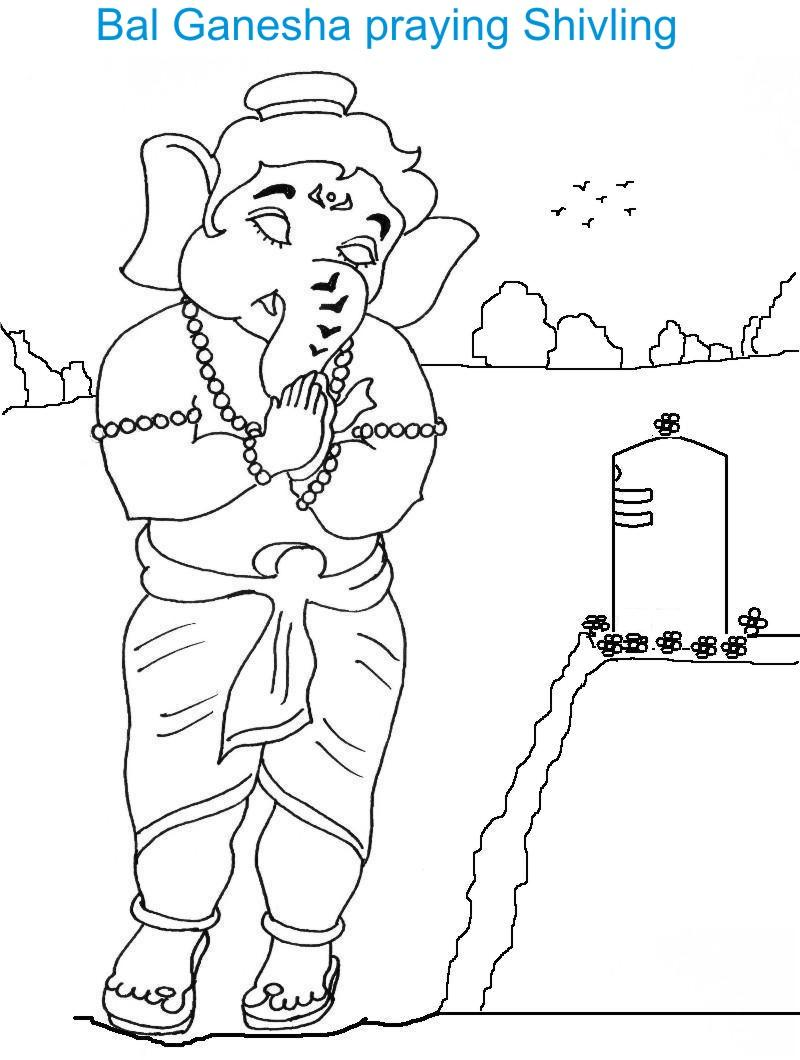 Ganesh Chaturthi coloring page for kids 3