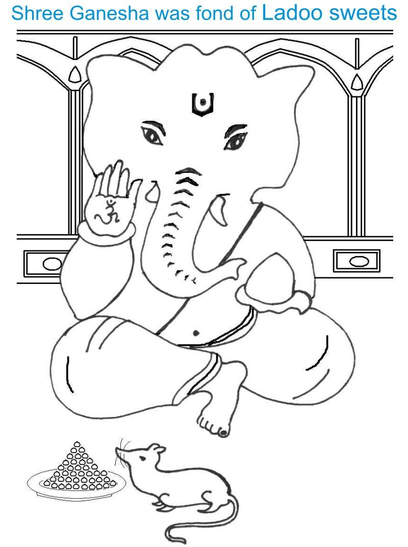 Ganesh Chaturthi coloring page for kids 7