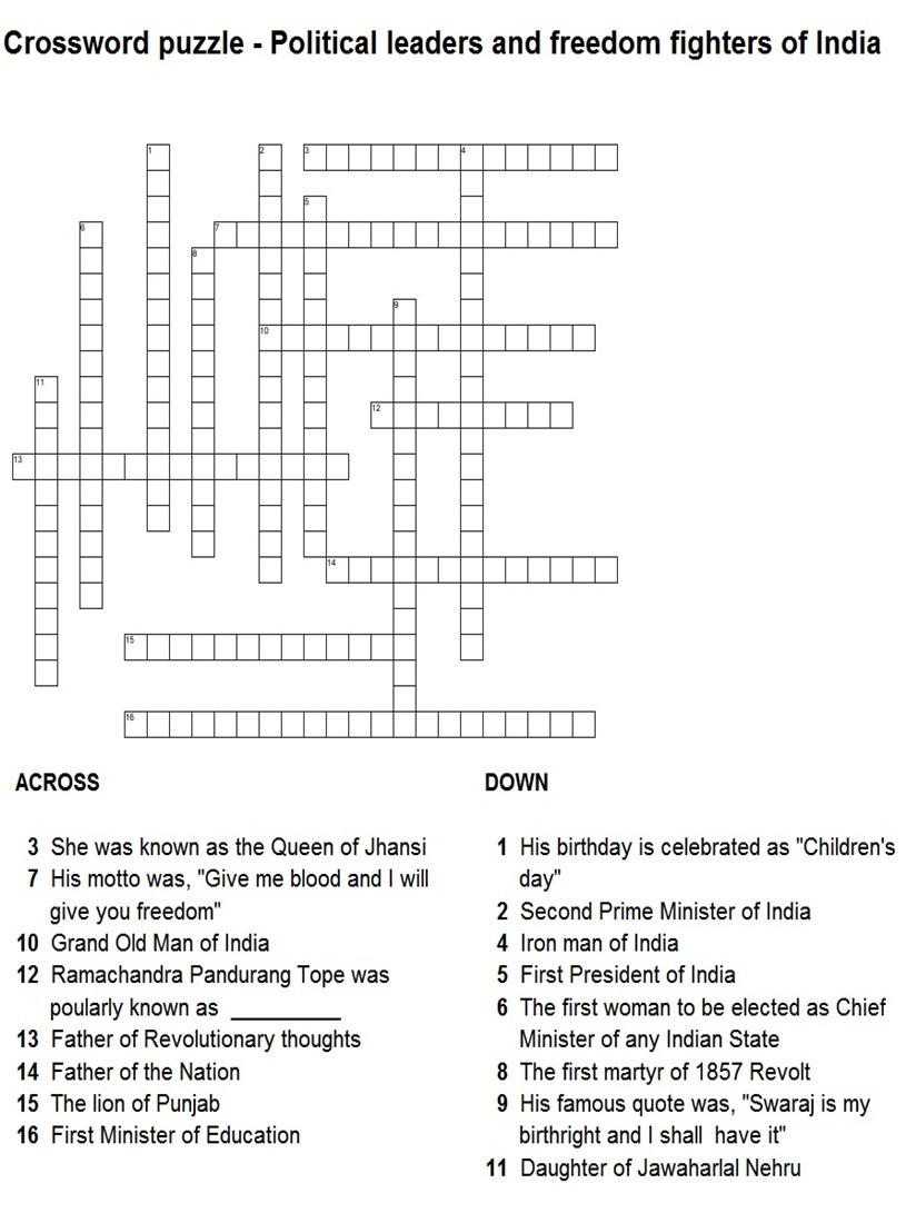 Indian History Leaders Puzzle