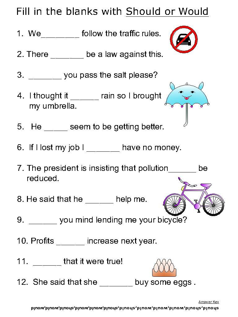 Helping verb worksheets for Should, Would