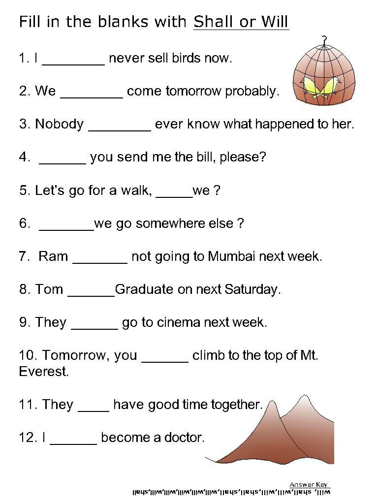 Helping Verb Worksheets For Will Shall