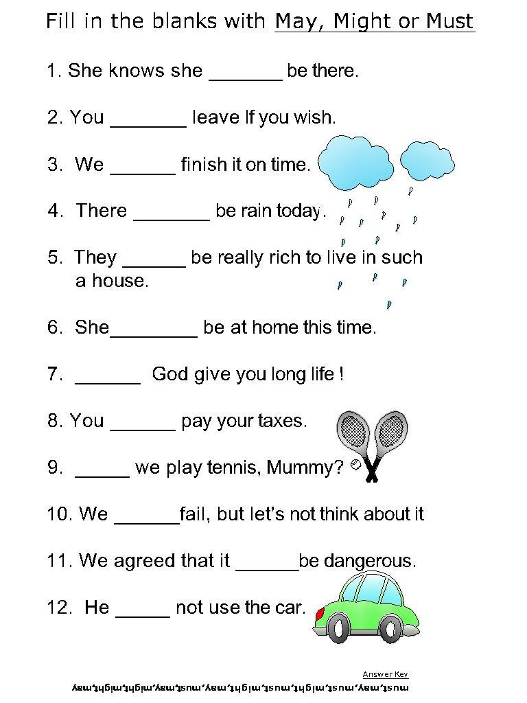 Helping verb worksheets for May, Might, Must