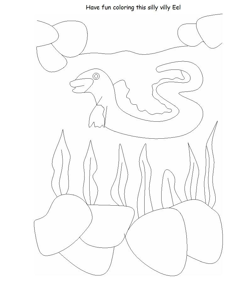 Eel printable coloring page for kids