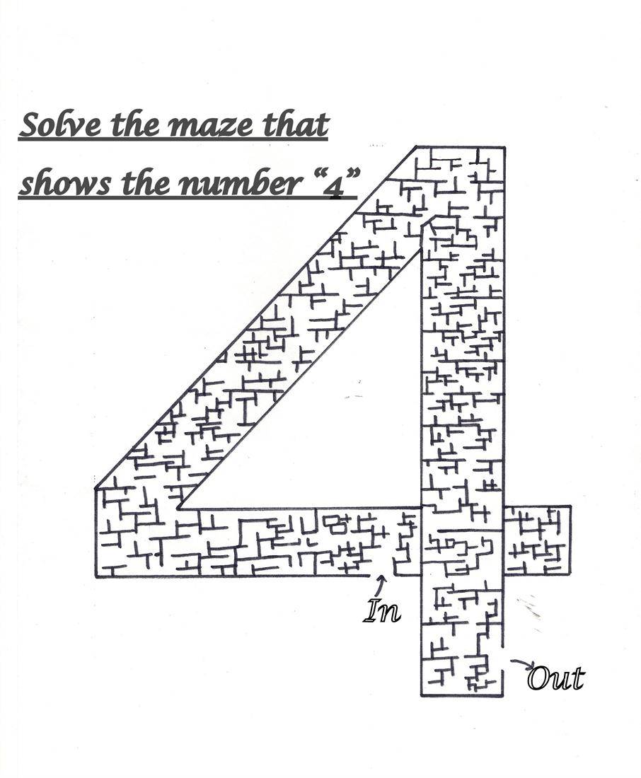 "Solve the maze showing number ""4"""
