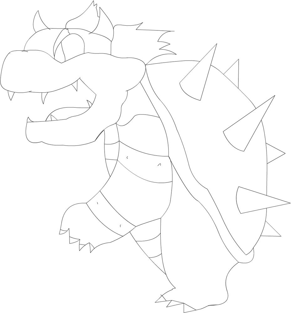 Bowser coloring printable page for kids