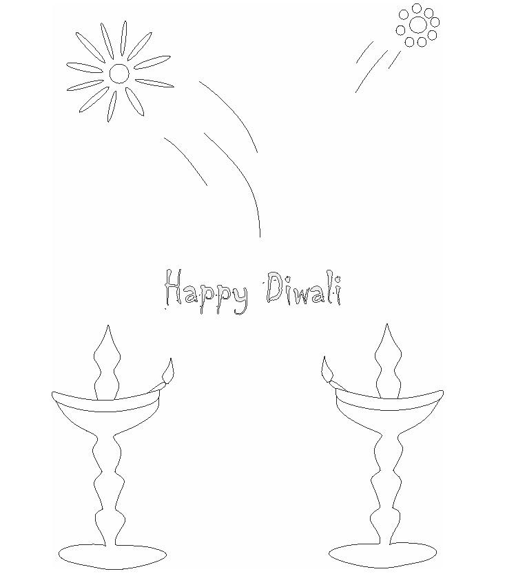 Diwali printable coloring page for kids 4