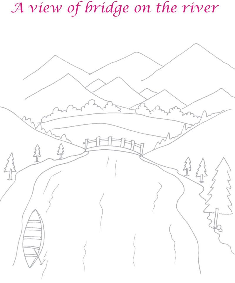 Scenery of Bridge on Rive coloring page