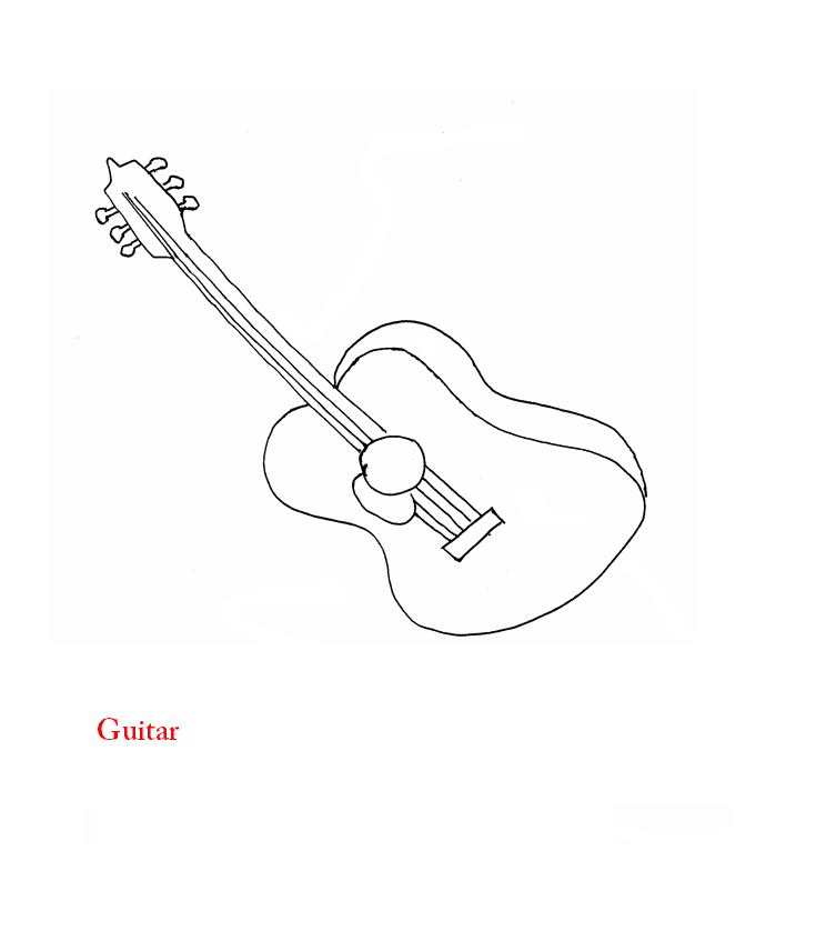 Guitar coloring page printable for kids