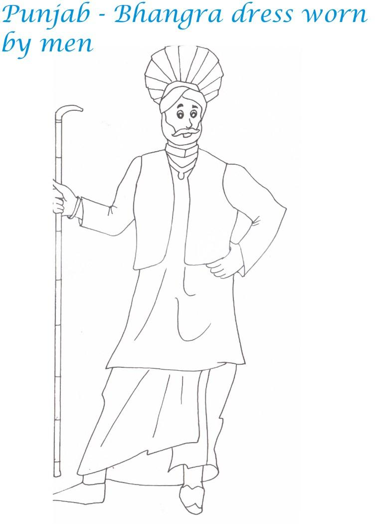 Punjabi dress printable coloring page for kids