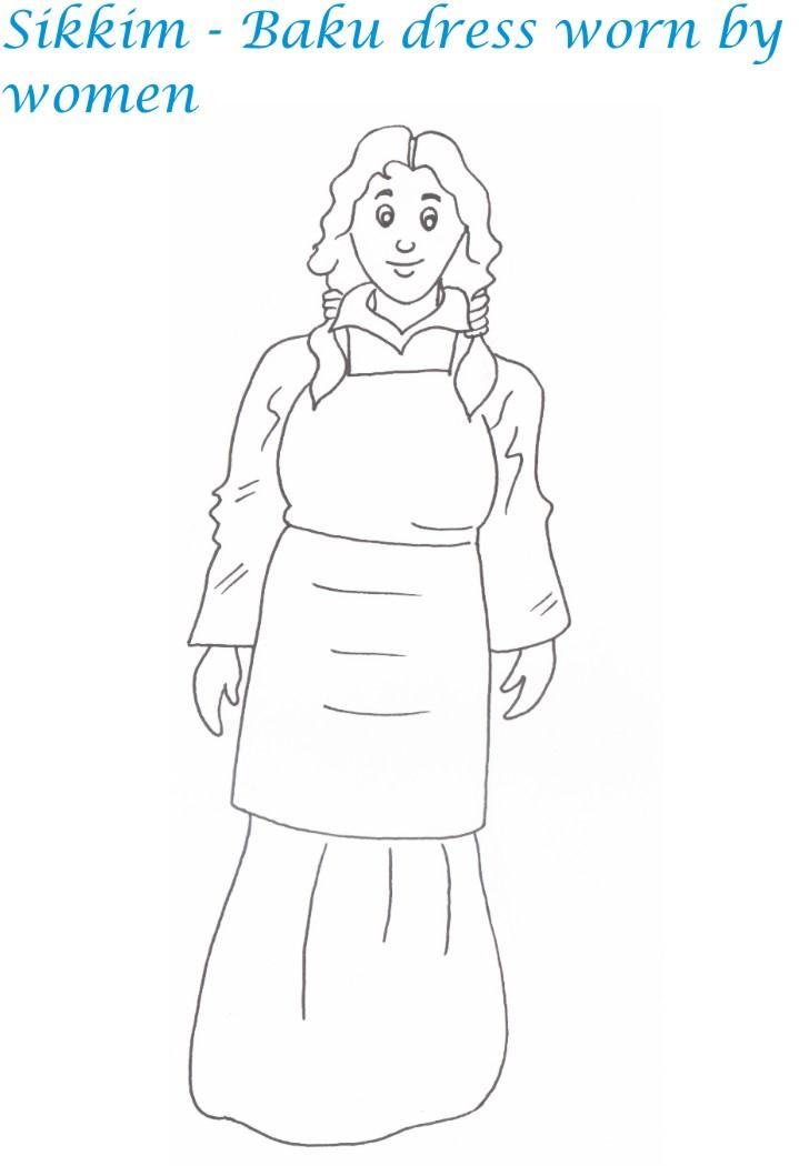 Sikkim women dressing coloring page for kids