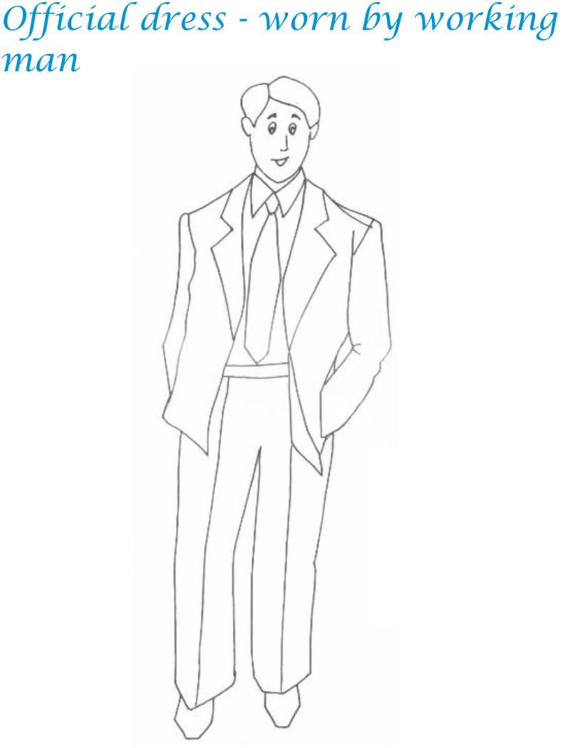 Official menswear printable coloring page for kids