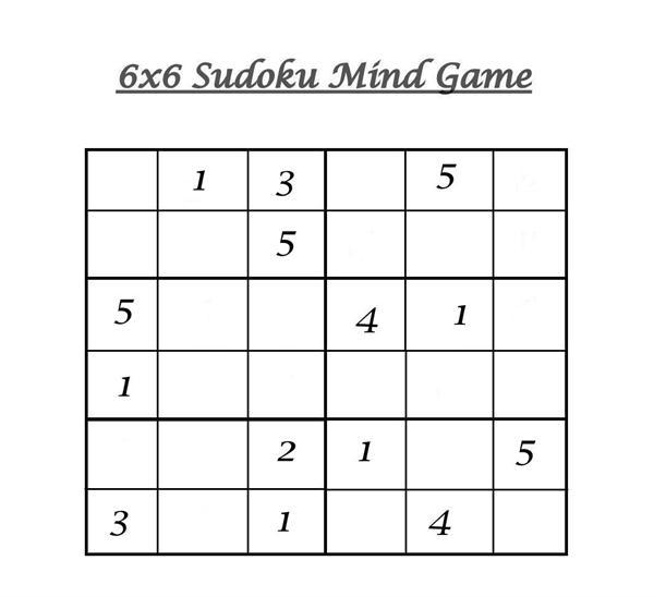 picture regarding Sudoku 6x6 Printable known as 6x6 Sudoku 4