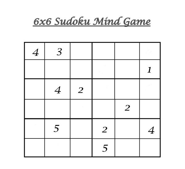image relating to 6x6 Sudoku Printable named 6x6 Sudoku 9