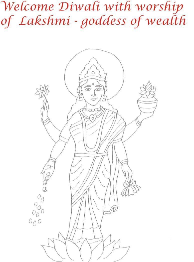 Goddess Lakshmi Printable Coloring Page For Kids