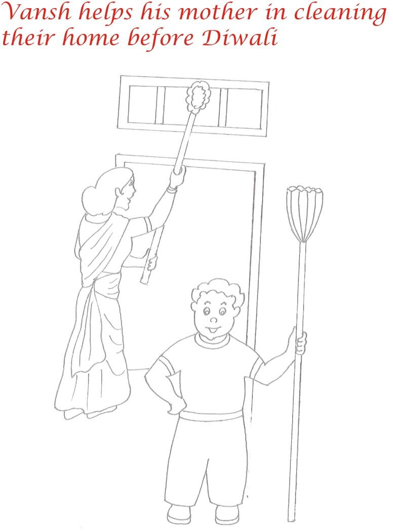 Diwali home cleaning coloring page for kids