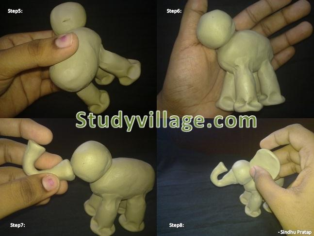 Steps to make clay elephant - Set2