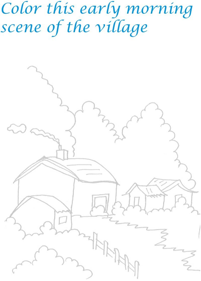 Morning in Village coloring printable for kids