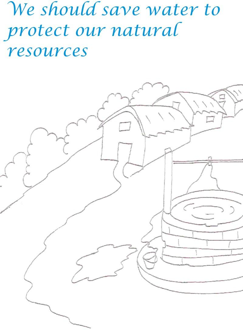Village Scenery Printable Coloring Page