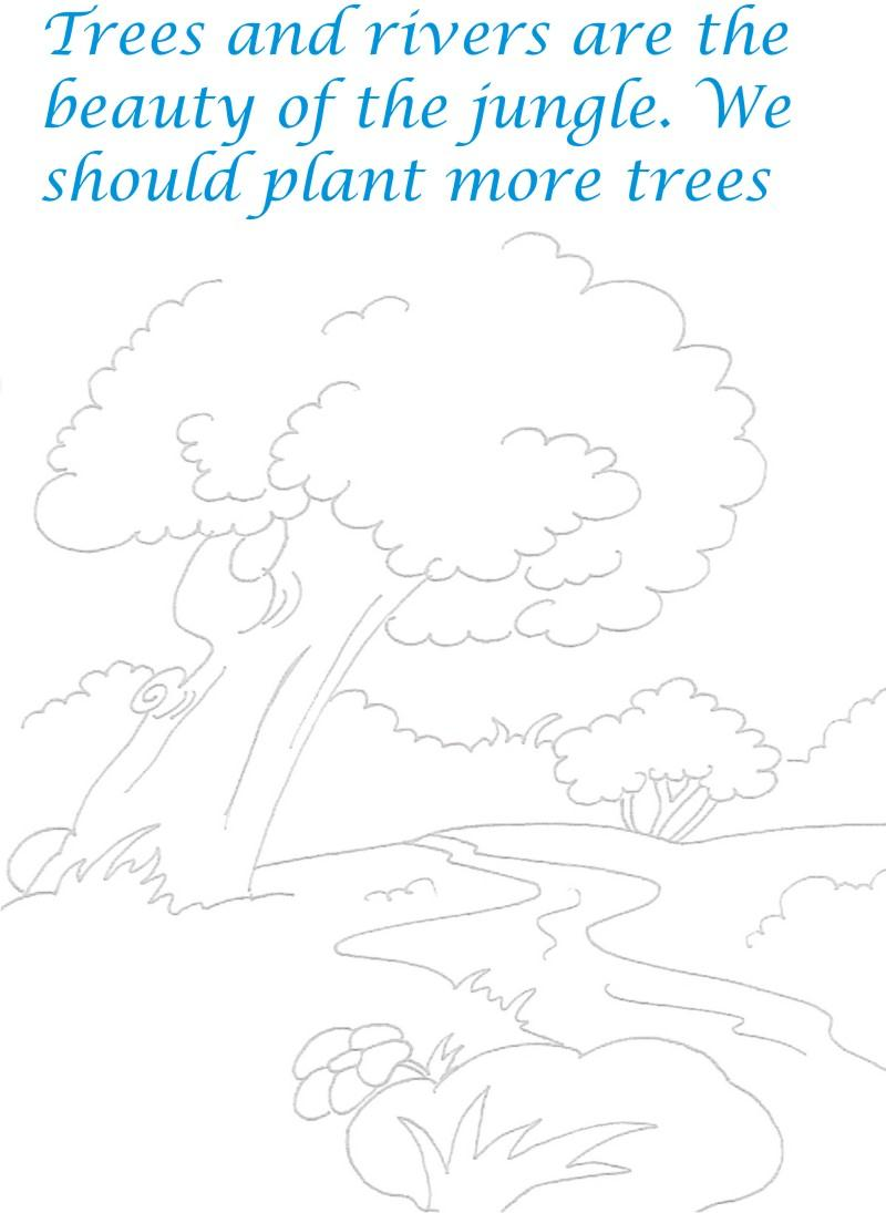 Save Trees Scenery coloring printable
