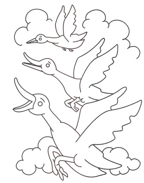 Flying ducks coloring printable page for kids