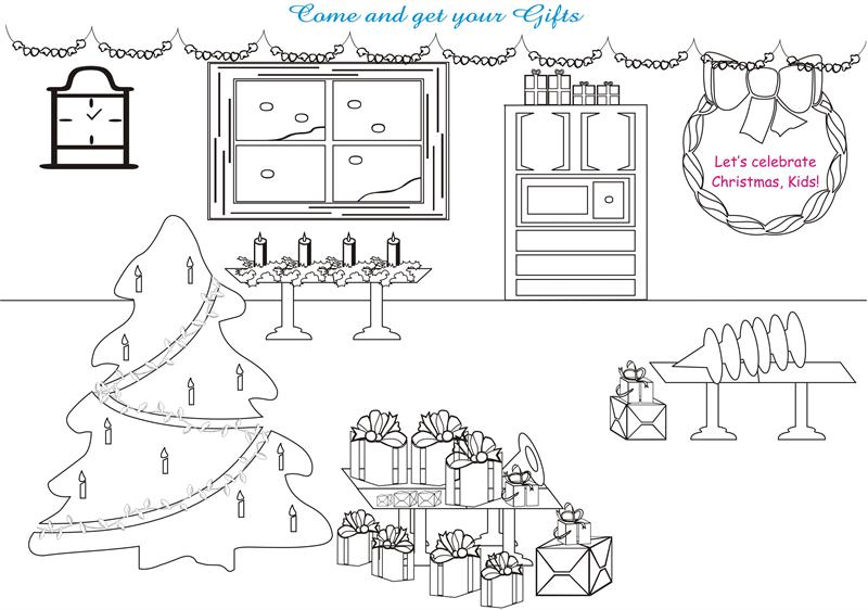 Christmas Tree and Decoration Printable Coloring Pages