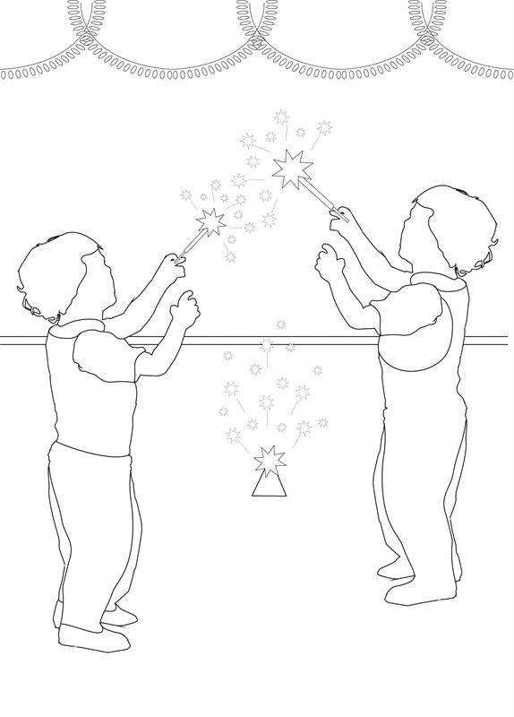 Christmas Firecrackers printable coloring page