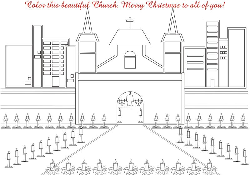 Christmas Church coloring printable page