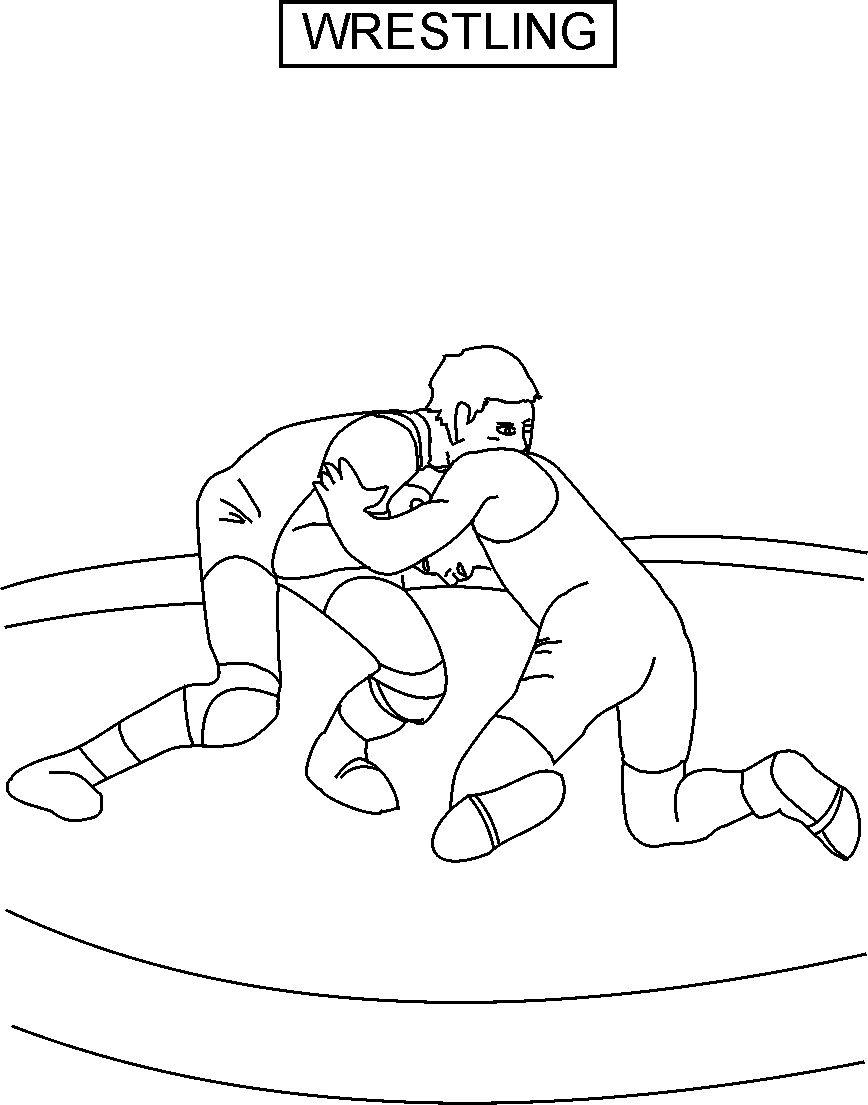 Wrestling coloring printable page for kids