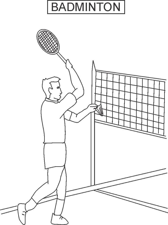 Badminton coloring printable page