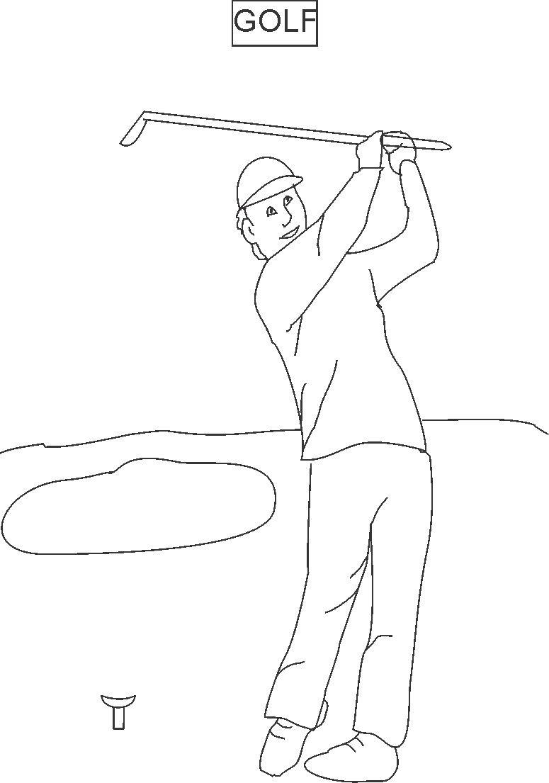 Golf coloring printable page for kids