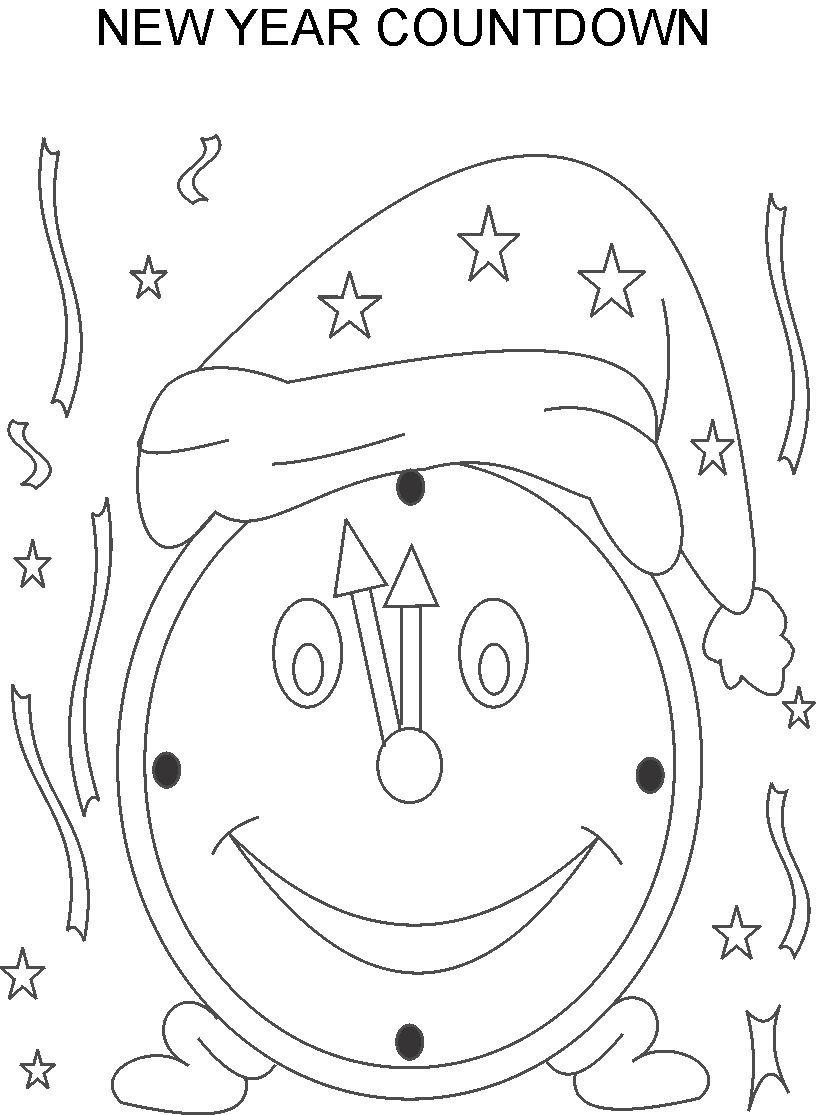Countdown to new year coloring pages for kids