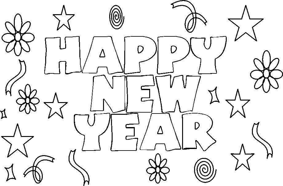 New year  coloring printable page