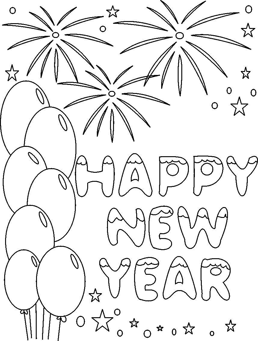 Happy New Year Coloring Printable Pages