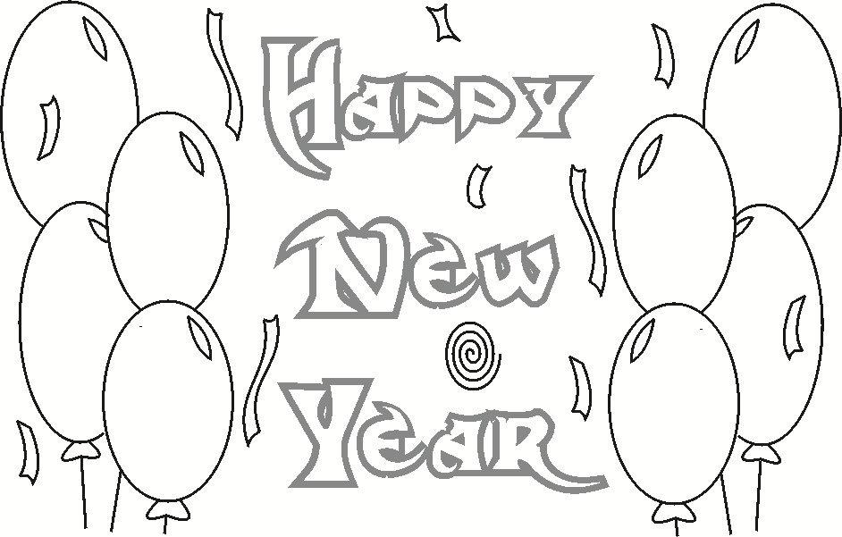 Happy New Year Coloring Printable Page