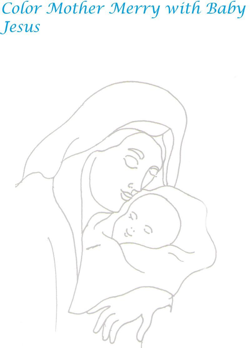 Mother Mary with Baby Jesus coloring