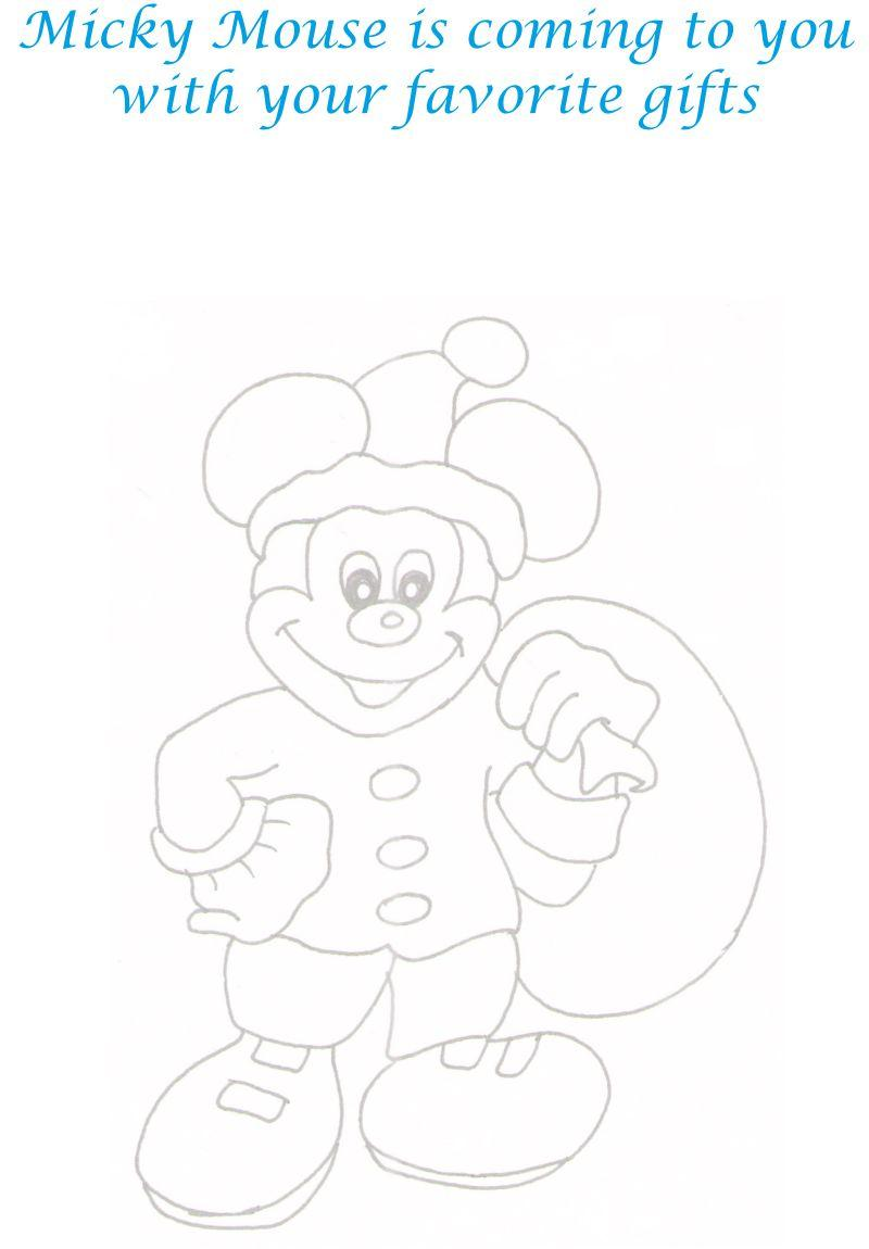 Mickey as Santa 2 coloring printable page for kids
